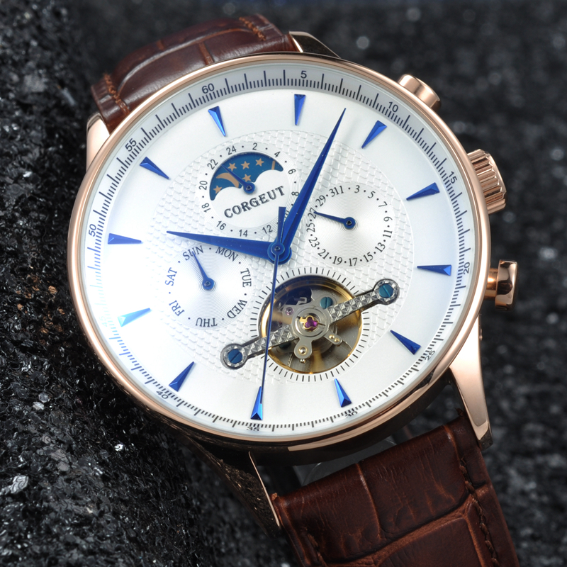 Corgeut 44mm Domed Glass Moon Phase White Dial gold  case leather strap Date & Day Mens Automatic water resistant wristwatches corgeut 44mm wristwatches rose gold case white dial coffee leather strap hand winding 6498 water resistant men watches cm2005b