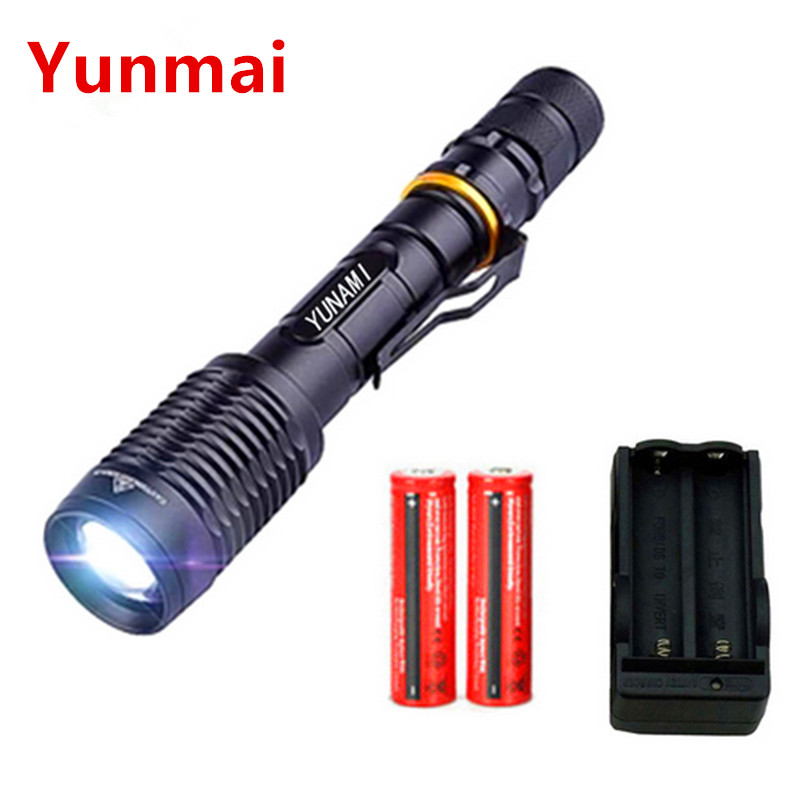 5000LM Zoomable XM-L2 LED Flashlight Torch Lighting 600M Tactical Flashlight Hunting Camping Lights + 2x18650 Battery+Charger