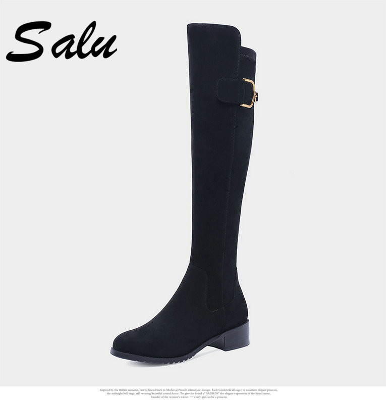 Salu Sheep suede Boots square Heels Black Genuine Leather Boots Women Winter warm shoes Classic Shoes salu winter fashion sheep suede boots classic ankle shoes genuine leather wool fur warm square high heel women boots