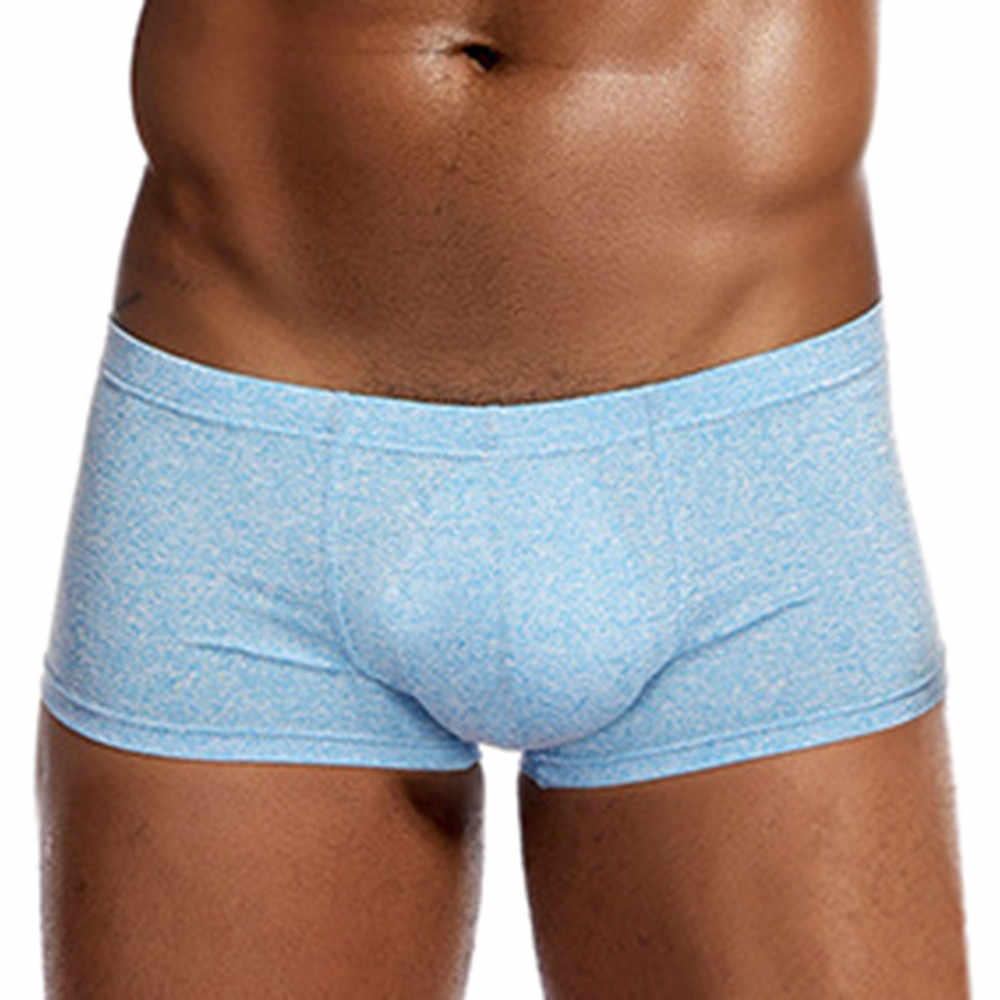 Homens Sexy Boxer Macio Respirável Roupa Interior Cor Sólida Calções Cueca Boxer Bojo Bolsa Masculino Confortável Cuecas Masculinas