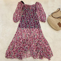 Summer Women Dress Long Sleeve Pink Floral Print Dress For Ladies 2019 New Women Midi Dress