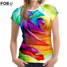 FORUDESIGNS T-shirt Women O-Neck Summer Femal Tops Tees Short-sleeve Leisure Floral Rose Printed Ladies Clothes Fashion Comfort