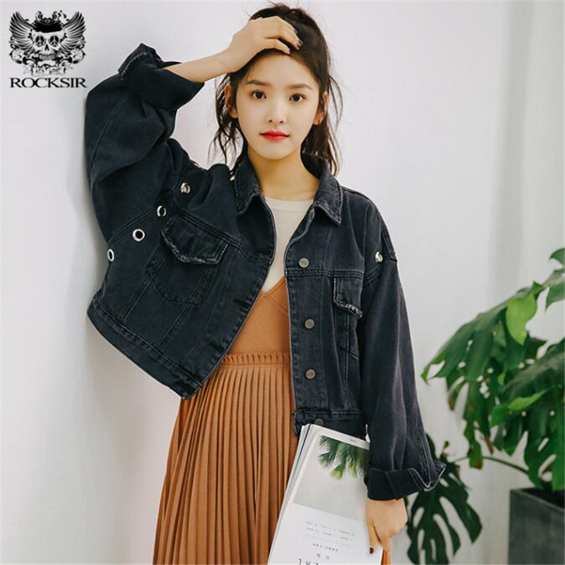 59c5dc0ed75 2018 women autumn spring fashion women basic jacket zipper short coat short  denim jacket brand clothing bomber jeans jackets women tops overcoat outwear