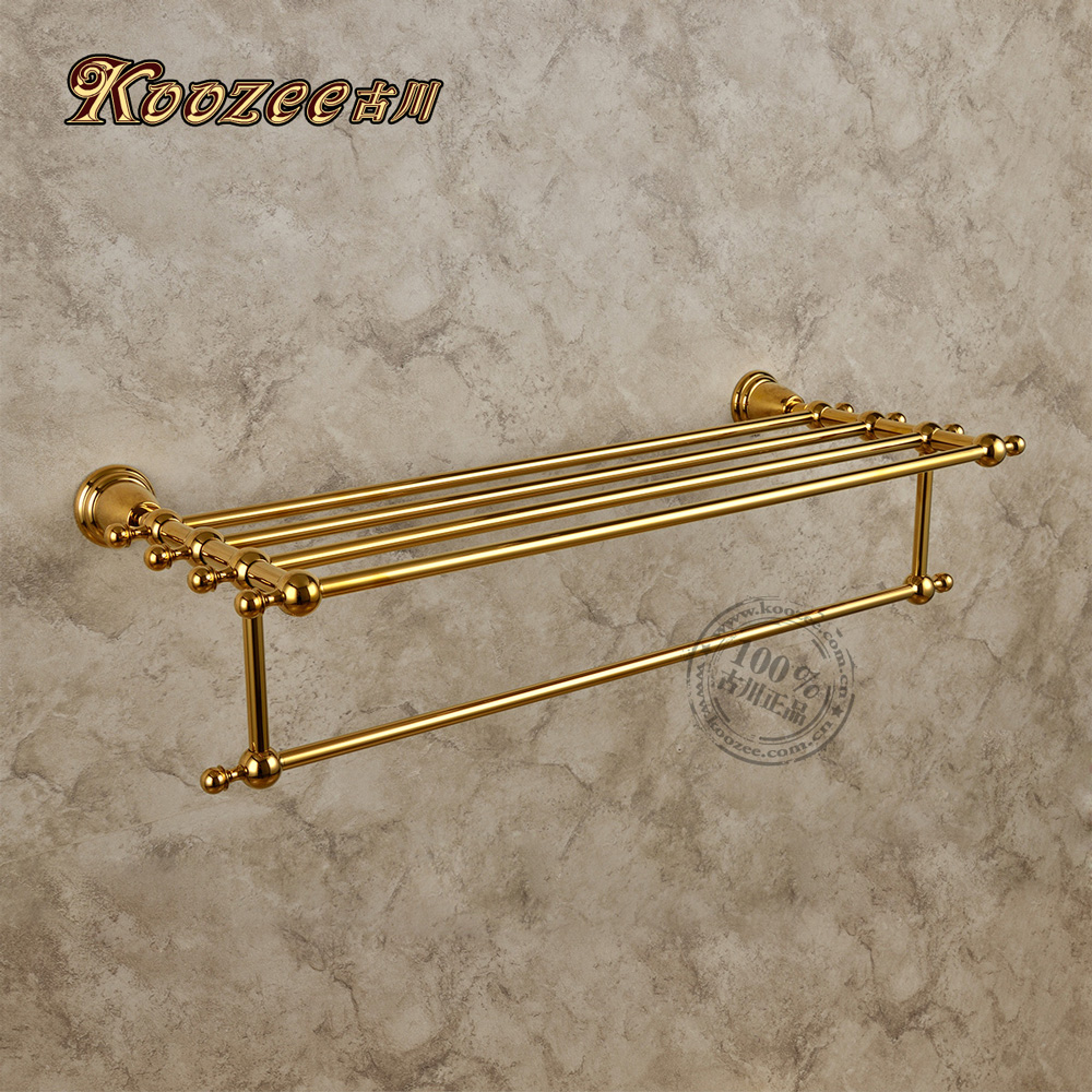 Free shipping towel rack copper towel rack gold plated for Bathroom accessories towel racks