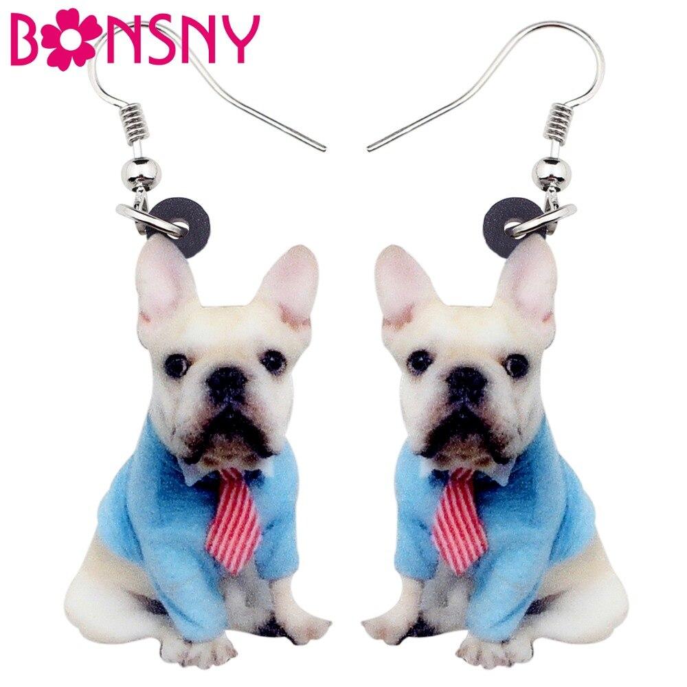 Bonsny Acrylic Sweet Sitting Tie French Bulldog Dog Earrings Big Long Dangle Drop Fashion Animal Jewelry For Women Girls Ladies