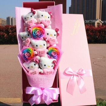 Симпатичные HELLOKITTY Винил Куклы фигурку игрушки мультфильм букет цветов Творческий День Святого Валентина Рождественские подарки