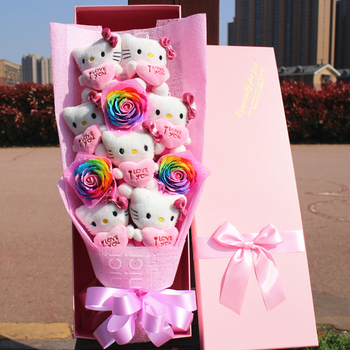 cute HELLOKITTY vinyl dolls action figure toy Cartoon Flower Bouquet Creative Valentine's Day Christmas gifts