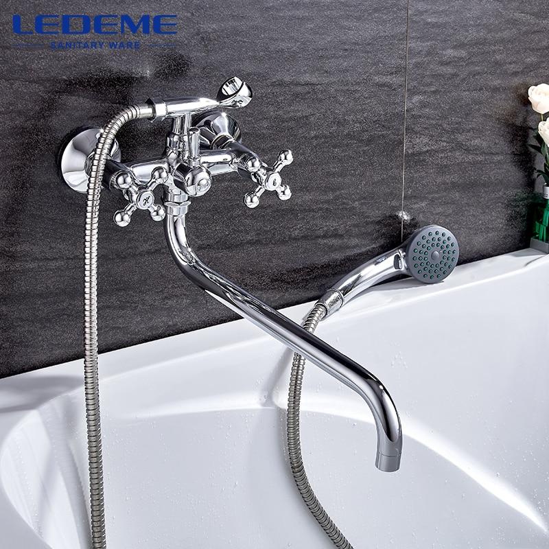 LEDEME Bathroom Faucet Modern Style Bath Faucet In-Wall Waterfall Mixer Tap Bathtub Crane Bathroom Shower Faucet Set L2619 sognare new wall mounted bathroom bath shower faucet with handheld shower head chrome finish shower faucet set mixer tap d5205
