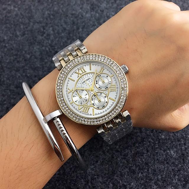 New Arrived Contena Luxury Montre Watch Femme Fashion Ladies Women Rhinestones F