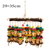 1pcs For Large Birds Parrots Toy Wood With Cotton Rope Chew Stand Toy Colorful