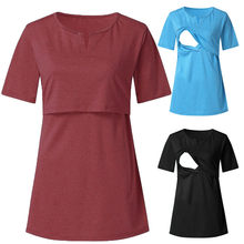 Women's Maternity Cloth Short Sleeve Solid Tee Breastfeeding Pregnant T-shirt Nursing Top ropa mujer Maternity Clothing C613(China)
