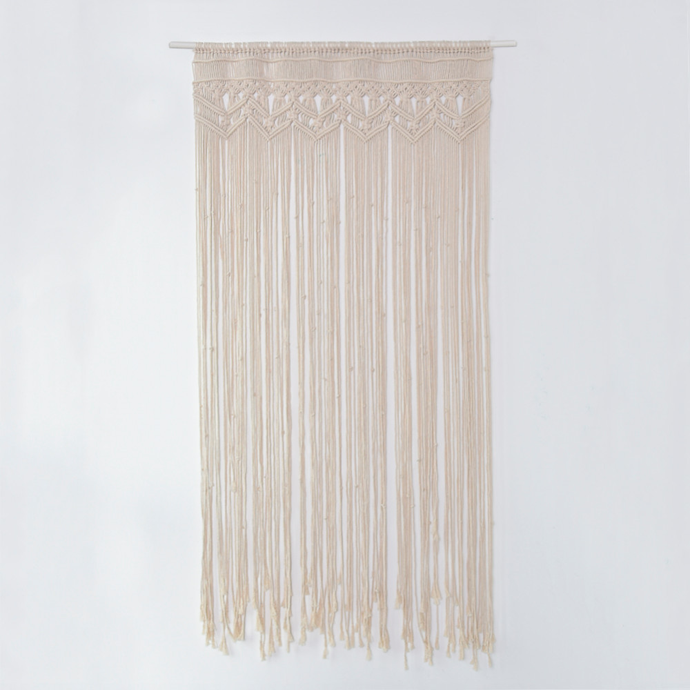 90x180cm Handmade Cotton Yarn Door Curtain Big Size Windom Curtain Wall Art Hanging Macrame for Wedding Party Living Room Decor