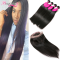 360 Lace Frontal With Bundles Straight Human Hair 4 Bundles Straight Hair With Frontal Weave Raw Indian Virgin Hair With Closure