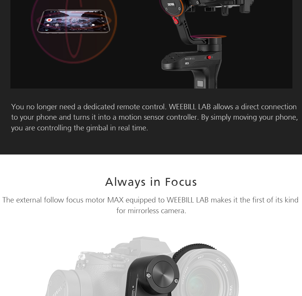 Zhiyun WEEBILL LAB 3-Axis OLED Display Stabilizer For Sony Panasonic GH5s Mirrorless Camera Handheld Gimbal With Focus Control 10