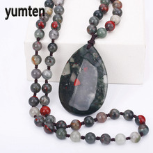 Crystal Water Drop Pendant Necklace Pendant For Men's Women's Aquatic Agate Fashion Party Love stone Sweater Chain Long Necklace