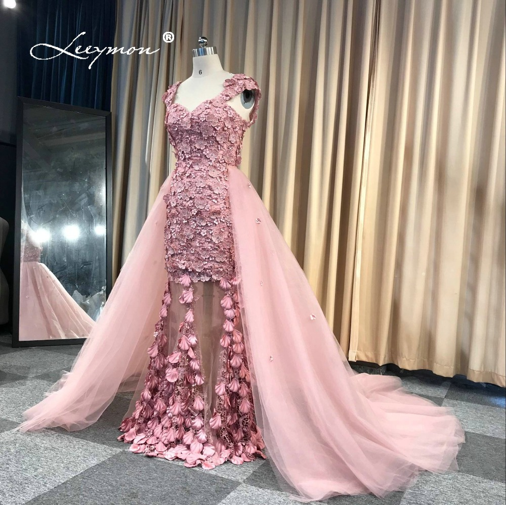 Elegant Mermaid Lace   Evening     Dress   With Detachable Train robe de soiree 2019 Elegant Vestido De Noche RE26