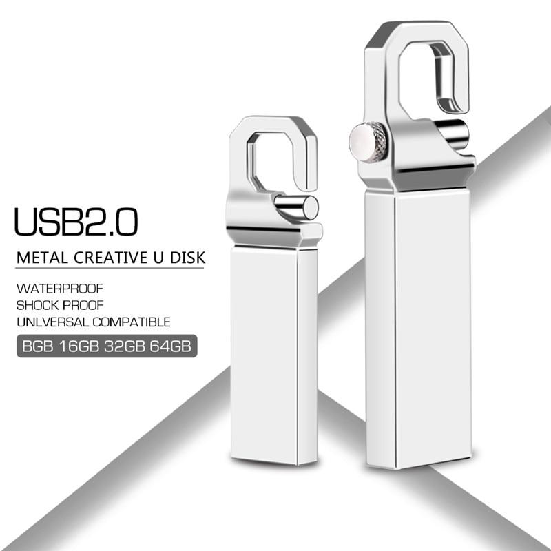 Usb флэш накопитель 32 Гб 2,0 металлический брелок Флешка 4 ГБ 8 ГБ 16 ГБ 64 Гб 128 Гб Водонепроницаемый флеш накопитель Флешка Пользовательский логотип-in USB флэш-накопители from Компьютер и офис