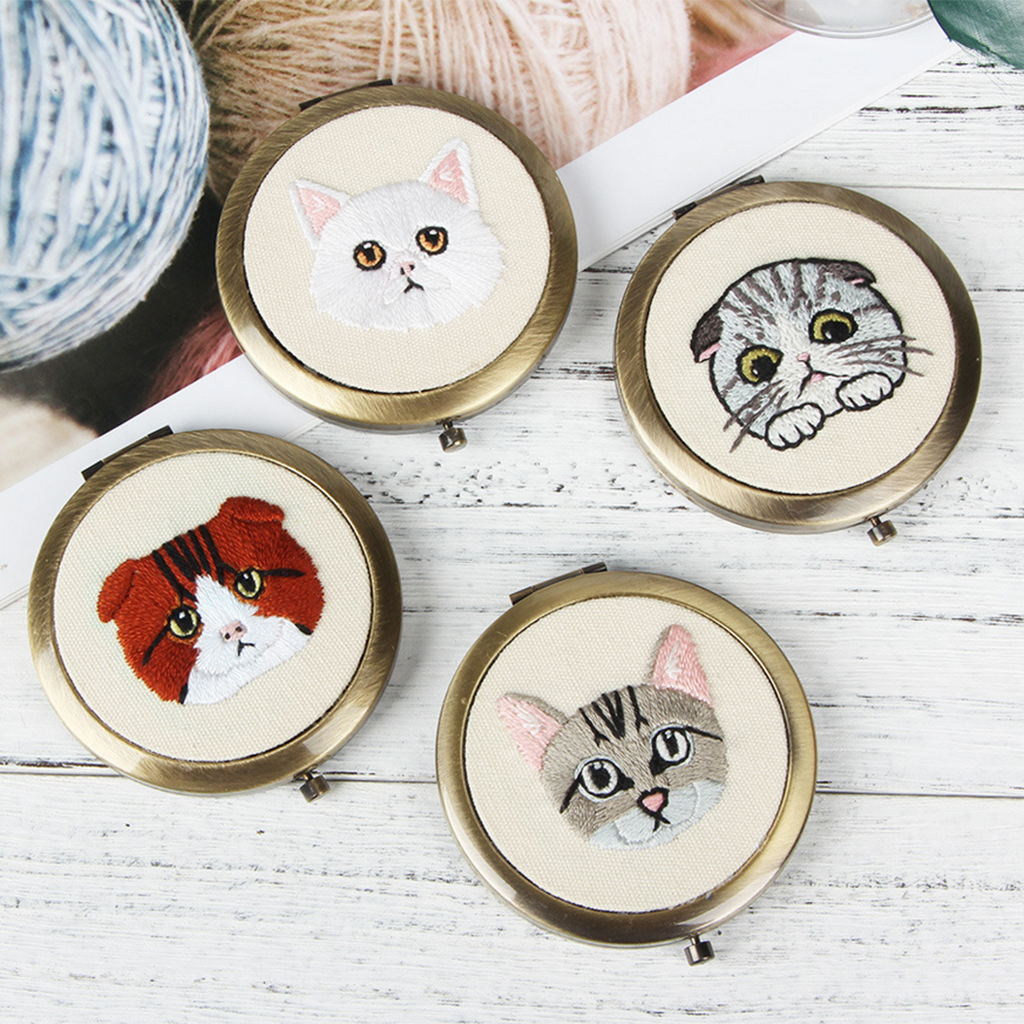 Cute Cat Pattern Needlework Kits Embroidery Starter Kit DIY Mini Makeup Mirror Or Brooch For Girl Women Children