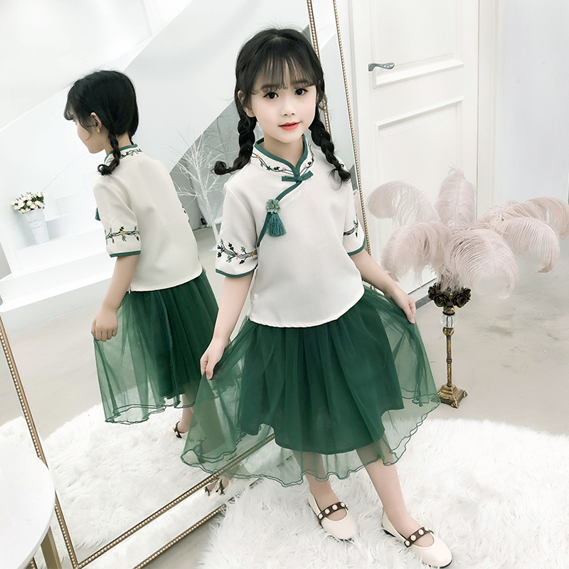 BBZ NEW 2019 girl summer Antiquity  fashion kids able  Two piece suit  Chinese style Lace   postage-freeBBZ NEW 2019 girl summer Antiquity  fashion kids able  Two piece suit  Chinese style Lace   postage-free