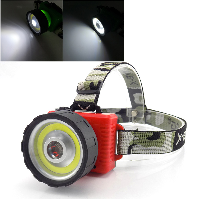 2 way COB + Led fishing headlamp headlight flashlight high power AA head light lamp torch lampe frontale for camping fishing цены