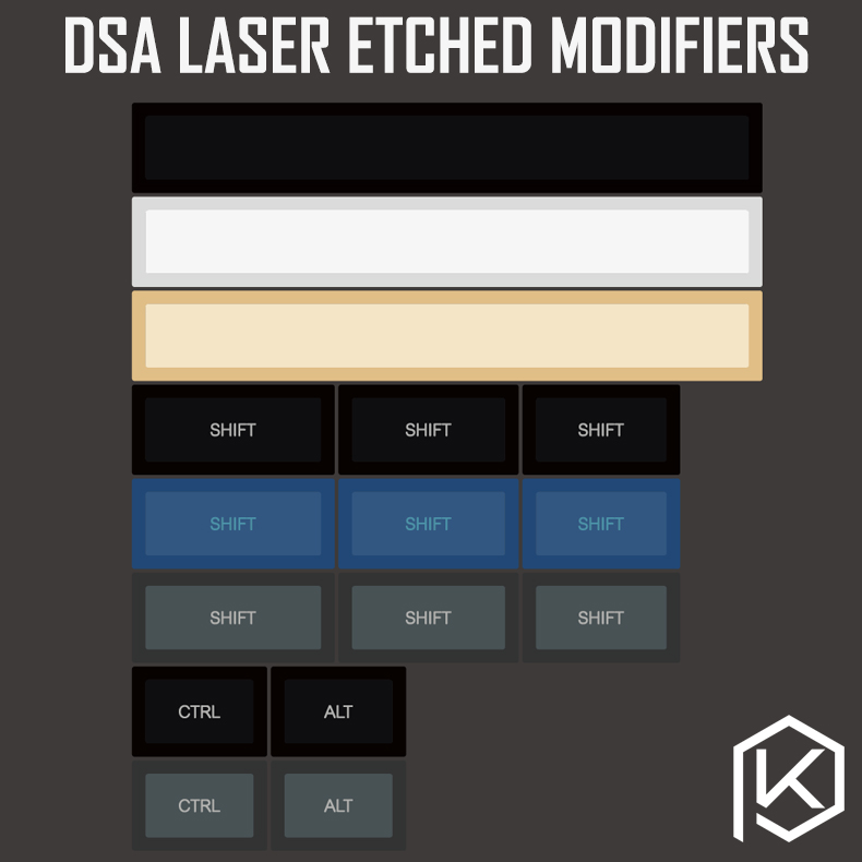 Dsa Pbt Top Printed Legends Yellow Blue White Black Dolch Keycaps Laser Etched Modifiers 1.75 Shift 7u Spacebar Ctrl Alt Iso