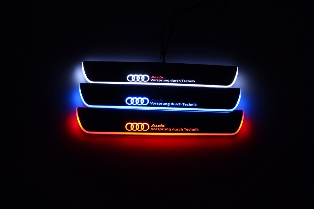 Qirun acrylic led moving door scuff welcome light pathway lamp door sill plate linings for Audi Q7 2006 2007 - 2014 2015 free ship rear door of high quality acrylic moving led welcome scuff plate pedal door sill for 2013 2014 2015 audi a4 b9 s4 rs4