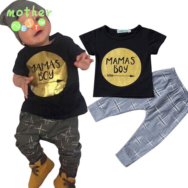 2017 Summer Newborn Baby Boys Clothes Sets Letter Print Short Sleeve T-shirt+Pant 2pcs Baby Outfit Suits Kids Infant Clothing