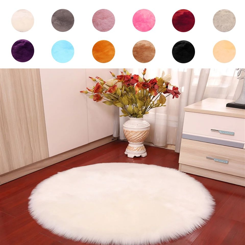70CM Big Round Carpet DIY White Fluffy Furry Rug Soft Artificial Wool Sheepskin Carpet For Bedroom Living Room Floor Mat Cutting