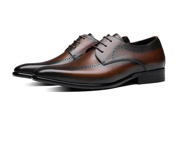 Fashion Brown / Black Oxfords Mens Wedding Dress Shoes Genuine Leather Business Shoes Male Offfice Shoes