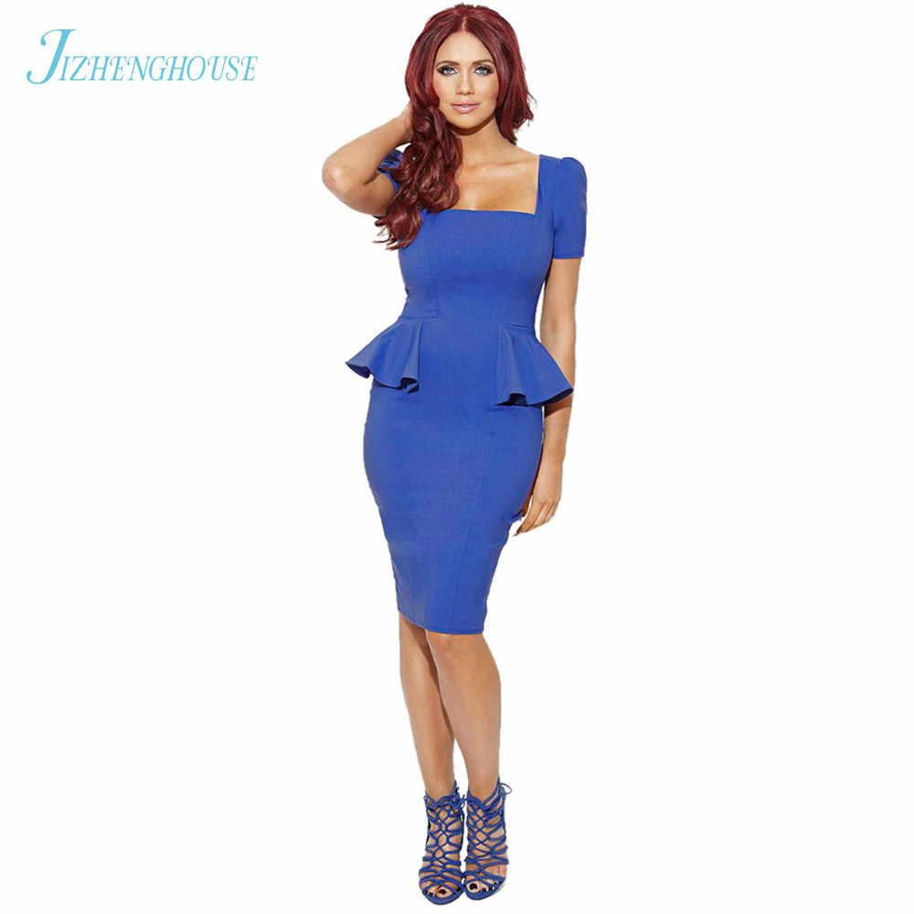 JIZHENGHOUSE Short Sleeves Womens Clothing Wholesale Drop Shipping Bandage  Peplum Casual Work Dresses 9ecfe70372ae