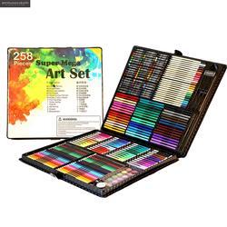 Juego de pluma de Color 258in1, papelería de calidad, regalo de madera de lujo, juego de lápiz de pintura, plumas para dibujo, conjunto de regalos para niños, herramientas de papelería