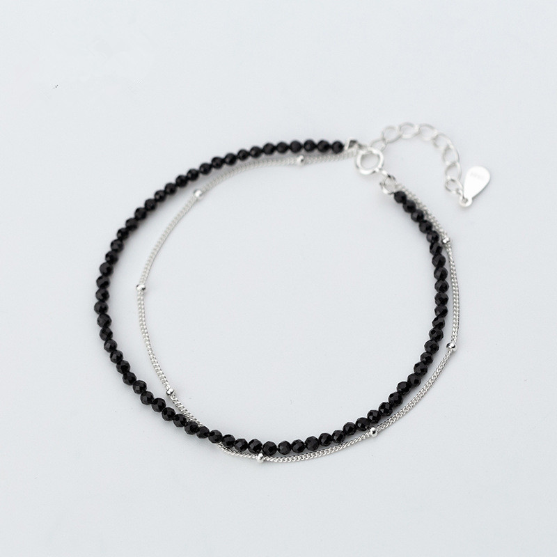 100% Real. 925 Sterling Silver Fine Jewelry Beads & Geometric-CUT Black Crystal Double Layers/ Multi-rows chain  Bracelet  LS768100% Real. 925 Sterling Silver Fine Jewelry Beads & Geometric-CUT Black Crystal Double Layers/ Multi-rows chain  Bracelet  LS768