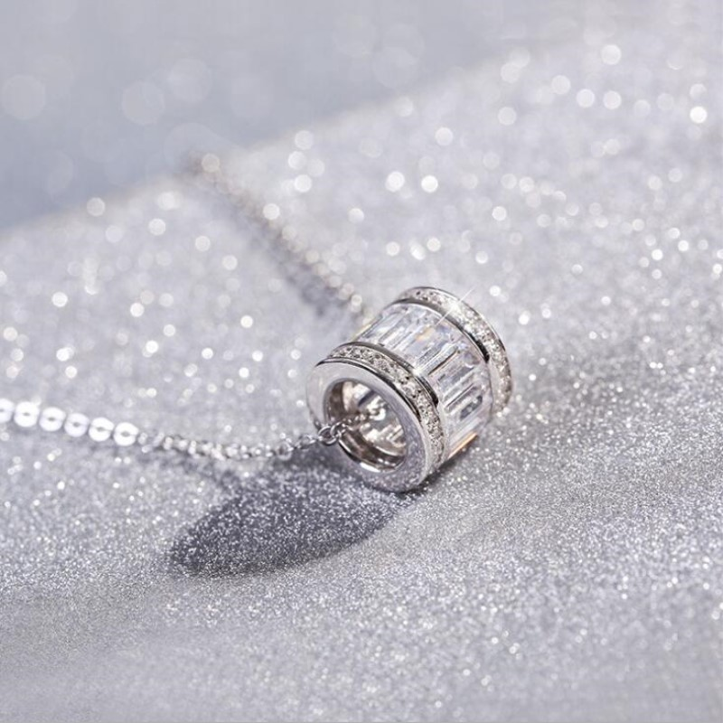Allergy 925 Sterling Silver Jewelry Round Ball Simple Fashion Female Wild Crystal Clavicle Chain Pendant Necklace H195 925 sterling silver diamond dream catcher necklace fashion simple clavicle chain c03