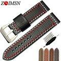 Zlimsn 24mm correa de reloj correa vogue espesar generosidad manual de cuero genuino correas de reloj correa mujeres de los hombres b13