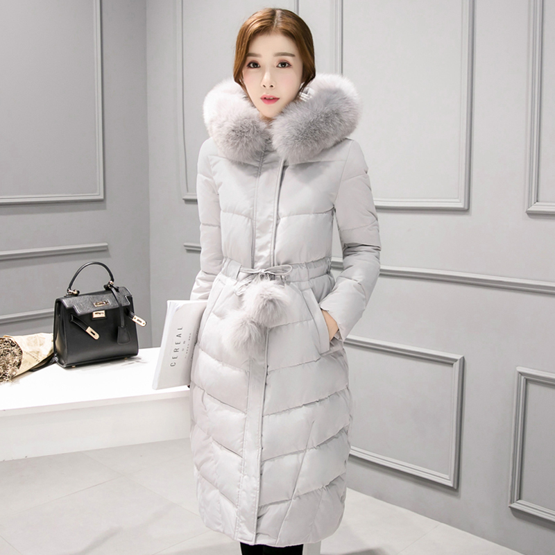New Winter Parkas Women Fur Collar Hooded Fur Ball Sashes Slim Solid Long Parkas Coat Thick Winter Coat Gray Pink Black C70503 4pcs new for ball uff bes m18mg noc80b s04g