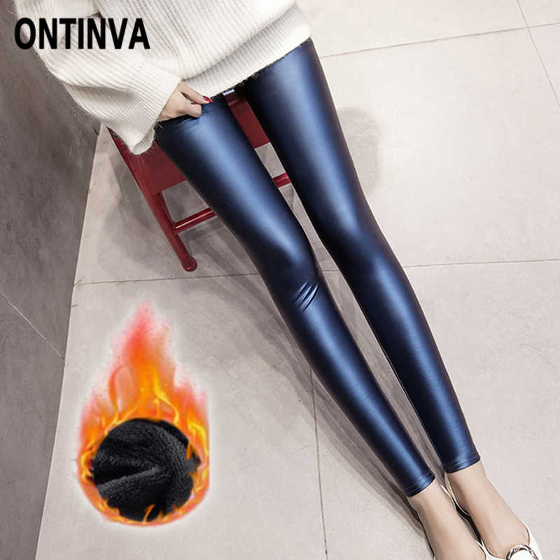 Mulheres Primavera de Couro Preto PU Leggings Grosso Push Up Sexy Legging Plus Size 3XL Quente Magro Jeggings Lápis Doces calças Skinny calças