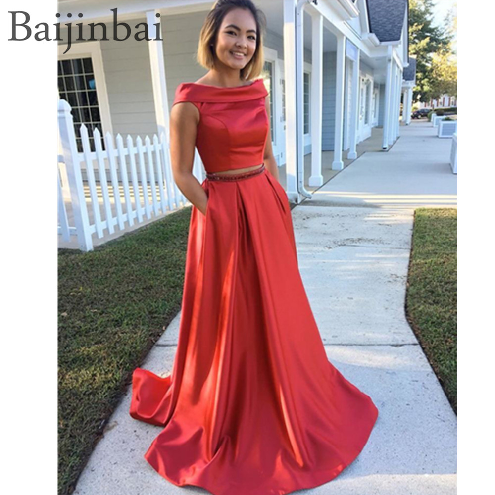 Baijinbai Two Pieces Off the Shoulder Long   Prom     Dresses   with Pockets Satin Sleeveless Party Evening Gowns A Line Formal   Dress