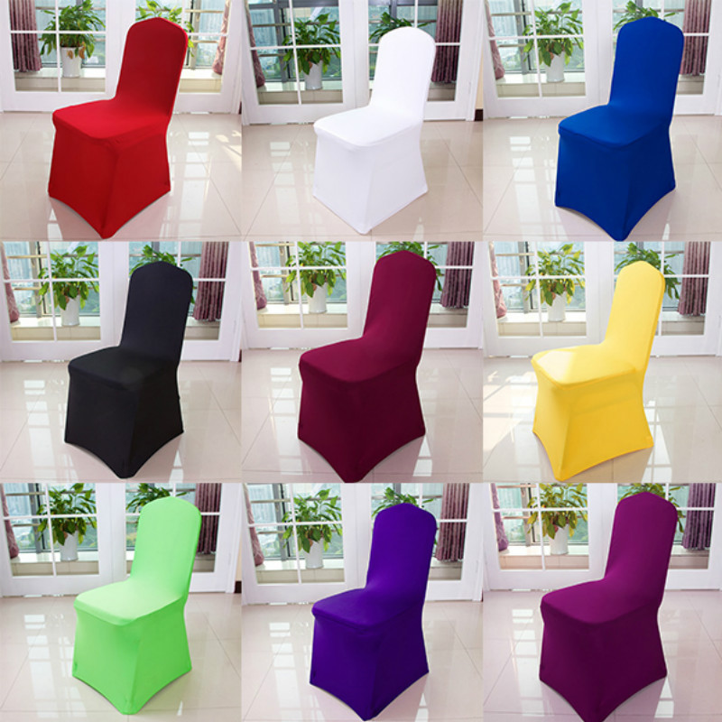 50 100 PCS Wedding Chair Covers White Stretch Universal Polyester Spandex Chair Cover for Weddings Banquet Restaurant 22 color