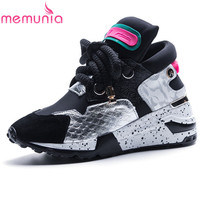 MEMUNIA 2019 newest genuine leather platform shoes women sneakers lace up shoes wedges casual shoes ladies sneakers