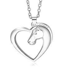 Creative Heart Horsehead Necklaces Pendants Fashion Jewelry Women Metal Trendy Link Chain Hores Classic Long Necklace