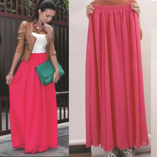 Women's Long Chiffon Maxi Skirt