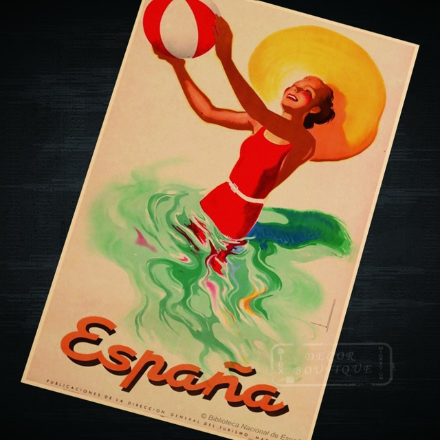 Espana, Spain Vintage beach trave Landscape Travel Classic Retro ...