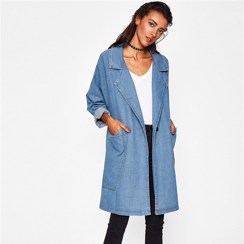 New   Trench   Coat Women 2019 Spring Autumn Denim Coat Female Long sleeve Loose Large size Long jeans Windbreaker Coats Women A2411
