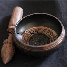Decoration Brass Diameter 18cm Bronze Gold Gilt Traditional Buddhist old Rare OM Ring Gong YOGA Singing Bowl Men's bowls high quality brass gong 22 chinese traditional wind gong