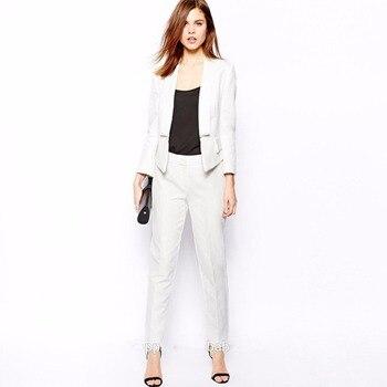 White Women Business Suits Slim Fit Formal Ladies Pantsuit Office Uniform Style Female Trouser Suit Custom Made Set W84