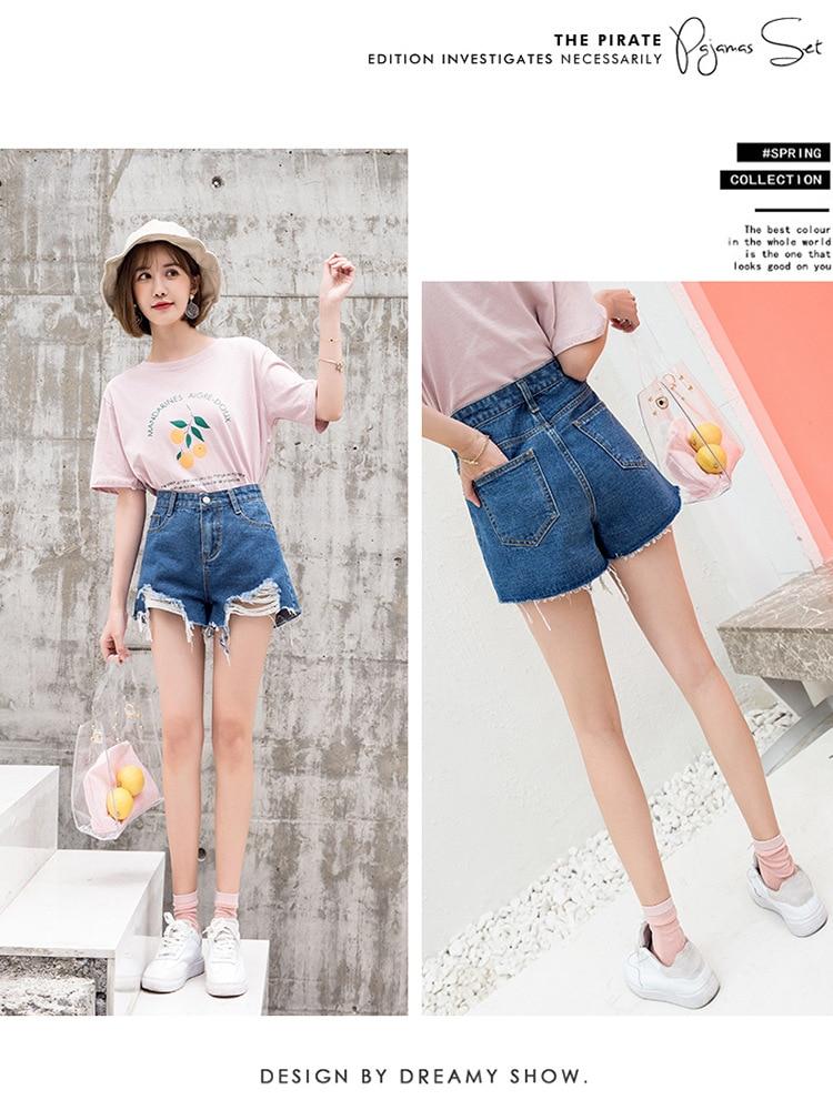 Blue Crimping Denim Jeans Shorts For Women 23