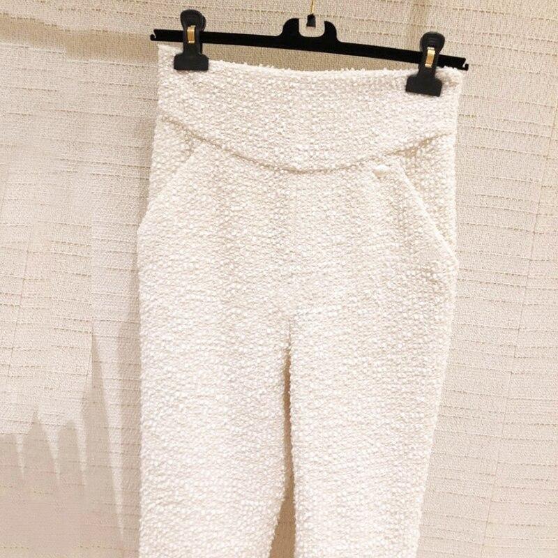 2019 Nieuwe Mode Lente Retro Casual Hoge Taille Tweed Broek Vrouwen Broek OL Vrouwelijke Elegante Broek Pak Broek Y275-in Broek & capris van Dames Kleding op  Groep 1