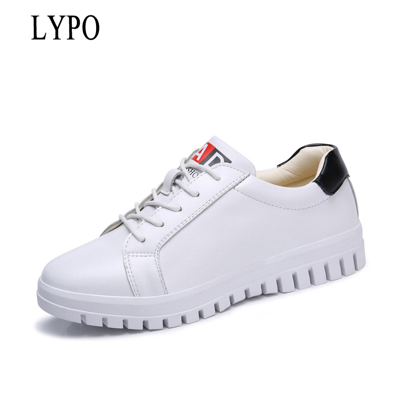 LYPO women casual shoes Fashion 2018 new autumn women shoes wild Korean single shoes tide Genuine Leather lace up white flats free shipping in the autumn of 2017 new korean daily leisure casual shoes for men head fashion shoes breathable low tide