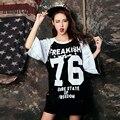 Персонализированные Tide бренда большие ярдов свободные буквы ручной блестками длинный отрезок с короткими рукавами Футболки женский summer-do957