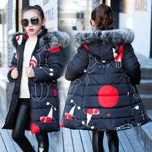 Liakhouskaya 2018 בגדי ילדים חורף פרווה מעיל עבור בנות 12 שנים חם סלעית עבה כותנה מרופדת ארוך מוצק מעיל